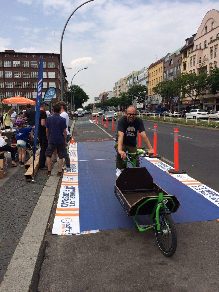 Aktion im Sommer 2019 für einen Radweg in der Müllerstraße
